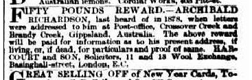 Advert seeking Archibald Richardson
