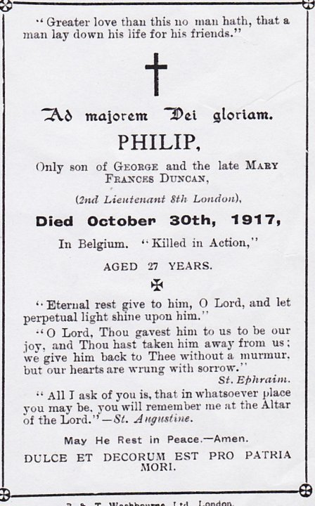 Image of Philip Duncan's memorial card