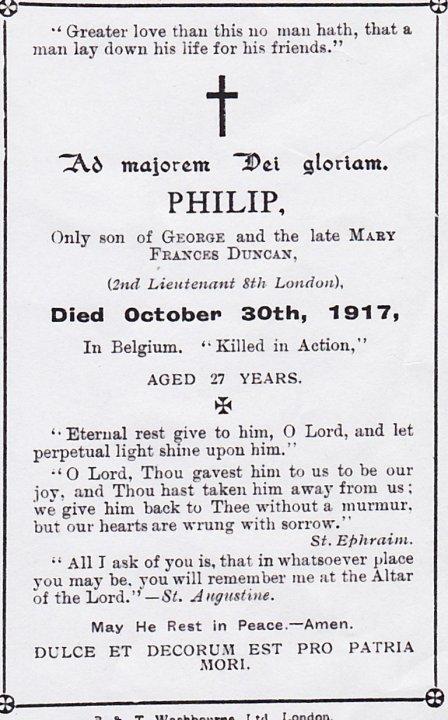 Image of Philip Duncan's memorial card