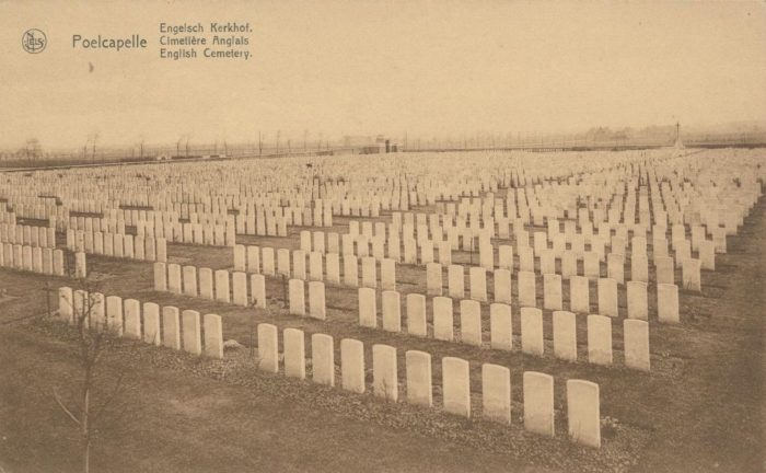 Poelcapelle British Military Cemetery. This photograph was probably taken between 1923 and 1927. Some of the original wooden crosses can still be seen.