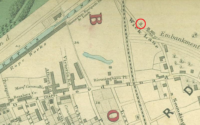 Old Ford in about 1862 - possible site of Woodland Cottage circled.
