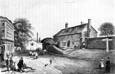 Old Ford Road at the junction with Wick Lane, some time around the middle of the 19th century. The White Hart is the building on the left side of the road, just beyond the junction.