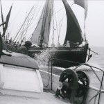 'Spinaway C' coming up astern of 'Memory' in the 1963 Blackwater Match